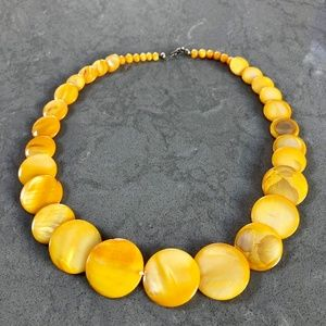 Yellow Mother of Pearl Overlapping Discs Necklace